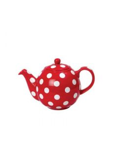 4 CUP GLOBE® TEAPOT RED WITH WHITE SPOTS LONDON POTTERY