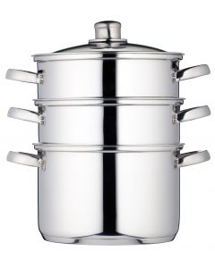 22CM THREE TIER STEAMER STAINLESS STEEL