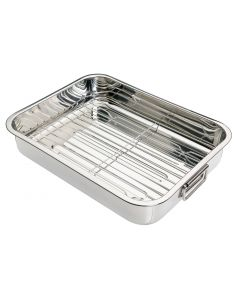38X27.5X6.5CM STAINLESS STEEL ROASTING PAN WITH RACK